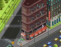 Isometric skyscraper. City map location. Сonstructor