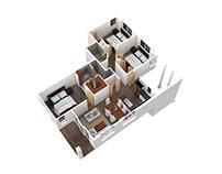 Residential Apartment 3D Floorplan.