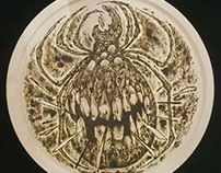 tick // pyrography on wood