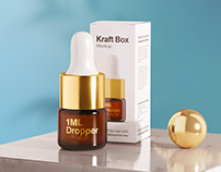 1ml Amber Dropper Bottle Mockup