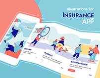 Insurance App Concept Illustrations