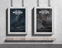 Advertising Display Glued Paper Posters Mockup Free