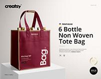 6 Bottle Non Woven Tote Wine Bag Mockup Set