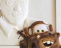 John Lasseter and Mate paper sculpture