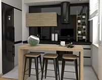 Kuchnia z czarnym szkłem