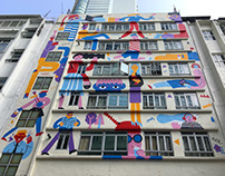 """Faces Places"" Mural in Hong Kong"