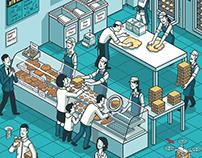 Bakery of the future: isometric illustration