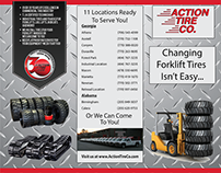 "8 1/2"" x 11"" trifold brochure for a tire company."