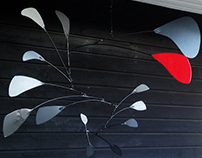 Kinetic Iron sculpture tribute to Calder