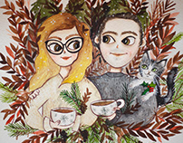 Custom watercolor portrait of couple and their cats