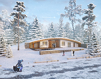 Winter has come - green roof ecohouse - white roof