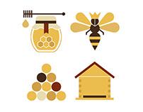"Icon set for the honey brand ""Apimel""."