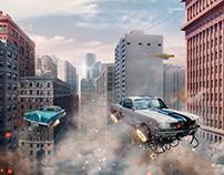 Retro futuristic cars.