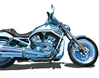Harley Davidson V-Rod Hot Bike Magazine - Illustration