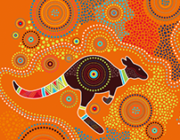 Illustration in aboriginal art style