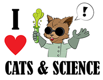 I Heart Cats & Science Illustration