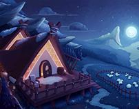 Shepherd's house in moonlight