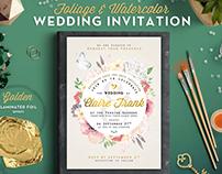 Foliage & Watercolor Wedding Invite II
