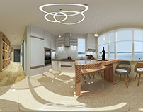 Spherical 3D panoramas-Country house kitchen. (2)