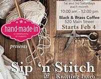 Knitting group meeting flyer for social media.