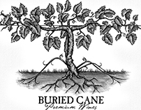 Buried Cane Wine Label Illustrated by Steven Noble