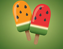 Fruity ice cream vector image