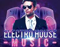 Electro House Music Flyer Free PSD Template