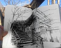 Railroad Sketchbook/ Urban Sketch/ Moleskine Drawings