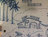 MURAL SURFERO Ilustración azul.