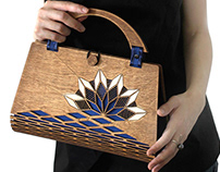 Wood Top Handle Bag