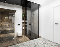 INTERIOR DESIGN FOR YOUNG FAMILY . MODERN BATHROOM WIT