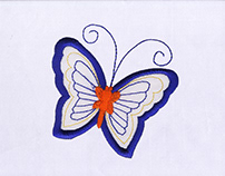 ORANGE BUTTERFLY APPLIQUE EMBROIDERY DESIGN