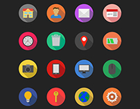 FLAT WEB ESSENTIALS │ Long shadow icons │FREE ICON PACK