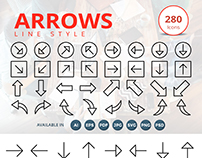 280 Arrows Line Style Icons