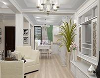 Living cu bucatarie casa stil clasic