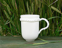 Braid Mug - Porcelain Tea or Coffee Mug