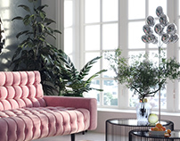 Pink sofa and hybrid jasmine
