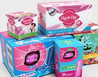 Diseño de varias marcas de toallas sanitarias y tampone