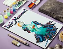 Little Mermaid watercolors illustration
