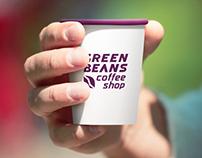 Green Beans coffee shop logo design concept