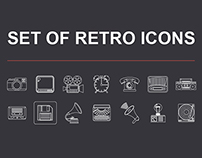 Set of vector icons in retro style.