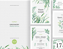 Greenery Wedding Collection - Watercolor Invitations