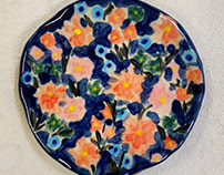 Various handmade & hand painted ceramic plates and pots