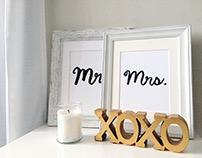 Mr. & Mrs. Hand Lettered Prints