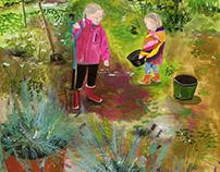 2 girls in a garden