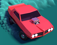 Low poly drift Pontiac GTO 1969