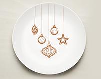Illustration design for a plate set in gold vintage