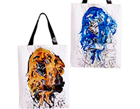 Halloween Ink Drawings / Double-sided Tote Bags