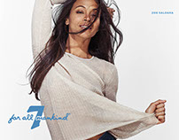 7 For All Mankind Campaign 2016 - Zoe Saldana
