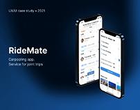 RideMate — Carpooling mobile app • UX/UI case study